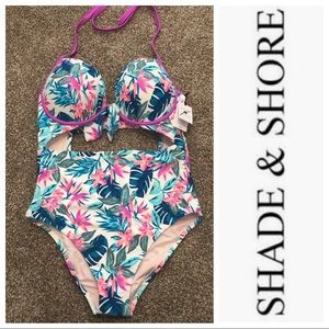 Shade & Shore Lite Lift Tie Front Cut Out Swimsuit